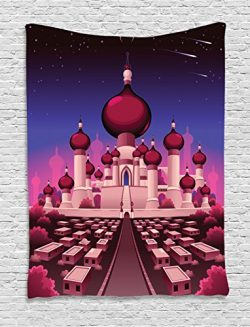 Ambesonne Fantasy Tapestry, Arabian Castle at Night Oriental Fairy Tale Palace Landscape Illustr ...