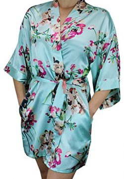 Ms Lovely Women's Floral Satin Bridesmaid Robe Short Kimono W/Pockets for Bridal Party &#8 ...