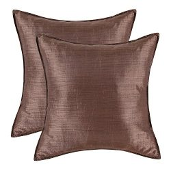 CaliTime Pack of 2 Silky Throw Pillow Covers Cases for Couch Sofa Bed Modern Light Weight Dyed S ...