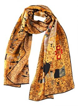 Women's Long Charmeuse Silk Scarf Classic Art Print (Portrait by Klimt)