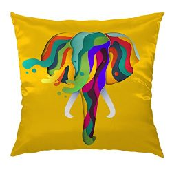 Moslion Elephant Pillow Home Decorative Throw Pillow Cover Abstract Geometric Elephant Satin Cus ...