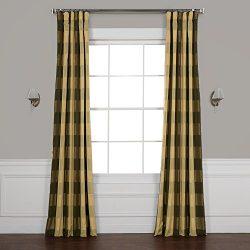Half Price Drapes Pts-SLK10A-84 Faux Silk Plaid Curtain, 50 x 84, Suffolk