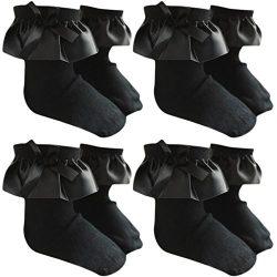 Sept.Filles Socks Girl's Anklet Socks Silk Lace Top Dress Socks Packs of 4 (S(1-3y), Black)