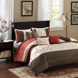 Madison Park Serene Queen Size Bed Comforter Set Bed In A Bag – Orange, Embroidered – 7 Pi ...