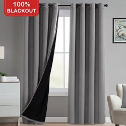 Turquoize 100% Blackout Curtains Grey 96 Inch Long Faux Silk Satin Thick Black Liner Full Light  ...