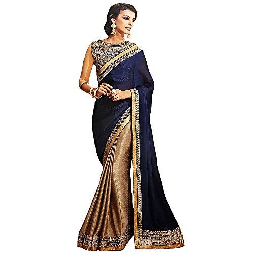 Shree Designer Sarees Women's Repute Brown & Navy Blue Georgette On Silk Saree