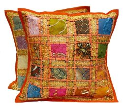 2 Orange Embroidery Sequin Patchwork Indian Sari Throw Pillow Cushion Covers