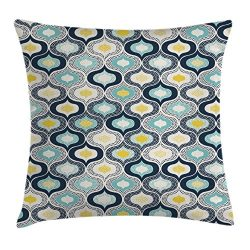 Ambesonne Modern Decor Throw Pillow Cushion Cover, Geometric Morrocan Mediterrain Style Dots wit ...