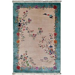 YILONG CARPET 4'x6′ Vintage Oriental Art Deco Hand Knotted Silk Rugs Traditional Are ...