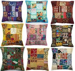 10pc Embroidered Sari Patchwork Cushion Cover , 17×17″ Indian Ethnic Pillow Covers ,  ...