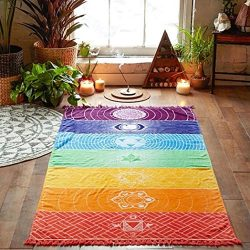 USHOT Rainbow Chakra Tapestry Towel Yoga Mat Sunscreen Shawl Tapestry Hippy Boho Gypsy By