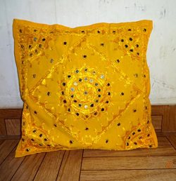 INDIAN YELLOW MIRROR EMBROIDERED 16″ DECORATIVE SOFA THROW PILLOW CUSHION COVER BOHO BOHEMIAN