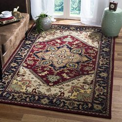 Safavieh Heritage Collection HG625A Handcrafted Traditional Oriental Heriz Medallion Red Wool Ar ...