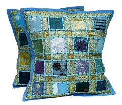2 Blue Embroidery Sequin Patchwork Indian Sari Throw Pillow Cases Cushion Covers