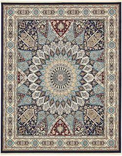 Unique Loom Narenj Collection Classic Traditional Medallion Textured Navy Blue Area Rug (8′ ...
