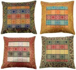ANJANIYA 4 Banarsi Silk Beautiful Boho Cushion Cover Indian Bohemian Style Silk Throw Pillow Cas ...