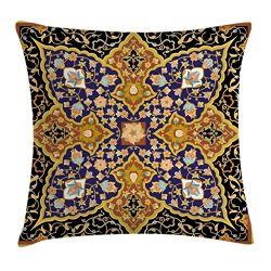 Ambesonne Arabian Throw Pillow Cushion Cover, Arabic Floral Mosaic Patterns South Eastern Antiqu ...