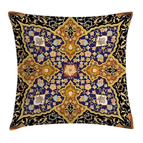 Ambesonne Arabian Throw Pillow Cushion Cover, Arabic Floral Mosaic Patterns South Eastern Antiqu ...