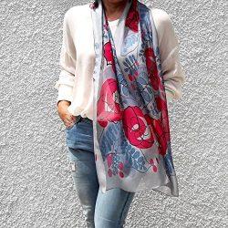 Long Silk Scarf Artistic Hand Painted & Printed Chiffon Blue Pink Floral Designer Fashion Li ...