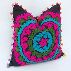 10 Piece Set 16 By 16 Mandala Style Otman Pouf Cushion Cover Hand Embroidered Suzani Pillow Vint ...