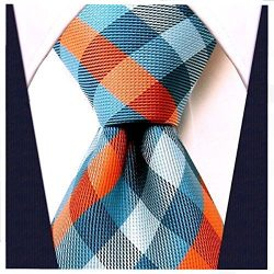 Gingham Plaid Ties for Men – Woven Necktie – Turquoise and Orange