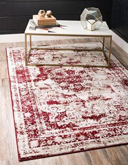 Unique Loom Sofia Collection Traditional Vintage Burgundy Home Décor Area Rug (4′ x 6′)