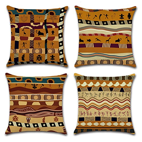 Indians Style Throw Pillow Case U-LOVE Square Decorative Cotton Linen Cushion Cover for 18 X 18  ...