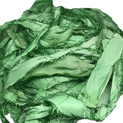 KnitSilk Brand – Super Bulky Recycled Sari Silk Ribbon Yarn in Baby Green Color | 50 Gms & ...