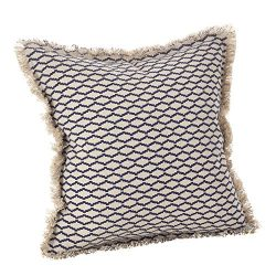 SARO LIFESTYLE Canberra Collection Fringed Morrocan Down Filled Cotton Throw Pillow, 20″,  ...