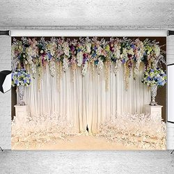 Mehofoto White Curtain Backdrop Floral Flower Wedding Background for Photographer 10x7ft Poly Co ...