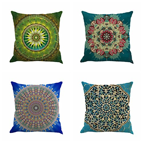 Set of 4 Retro Floral Mandala Compass Medallion Bohemian Boho Style Summer Decor Cushion Case De ...