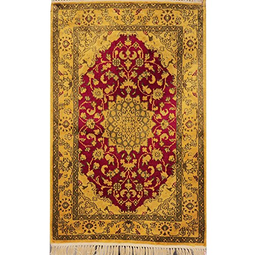 YILONG CARPET Yilong 2'x3′ Antique Hand Knotted Tabriz Persian Silk Rug Oriental Cla ...