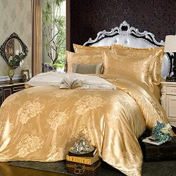 LightInTheBox Full Luxury 4 Piece Silk Cotton Blend Jacquard Polyester Floral Duvet Cover Set Fu ...