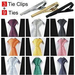 Jeatonge 9pcs Mens Ties and 3pcs Tie Clips, Men's Classic Tie Necktie Woven Jacquard Neck  ...