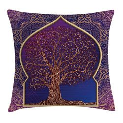 Ambesonne Ethnic Throw Pillow Cushion Cover, Tree with Curved Leafless Branches Middle Eastern M ...