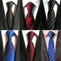 Adulove Men's Necktie Classic Silk Tie Woven Jacquard Neck Ties 6/9/12 PCS