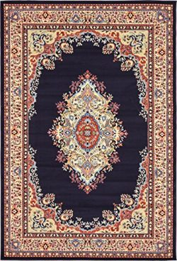 A2Z Rug Traditional Navy Blue 6′ x 9′ Mashad Collection Area rug Perfect for any flo ...