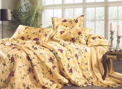 Maxfeel 4pcs 100% Mullbery Charmeuse Silk Bedding Sheet Sets Floral Prined Multicolor Multi Size ...
