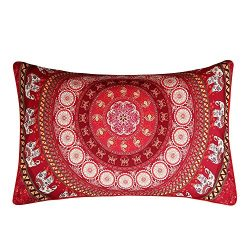Sleepwish Red Mandala Pillowcase Indian Elephant Messenger Pillow Case Boho Decorative Throw Pil ...