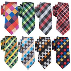 Silk Plaid Ties Set Stripe Designer Men Necktie Formal Wedding Party Fashion