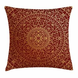 Ambesonne Maroon Throw Pillow Cushion Cover by, Antique Arabic Artwork Oriental Mandala Inspired ...