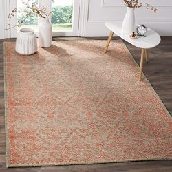 Safavieh Chester Collection CHS522A Hand-Knotted Dark Beige and Coral Wool and Bamboo Silk Area  ...