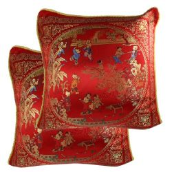 uxcell 1 Pair 43cm 17″ Chinese Manmade Silk Toss Throw Pillow Covers Red