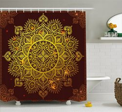 Ambesonne Mandala Shower Curtain, Ornamental Snowflake Floral Ethnic Traditional Arabian Orienta ...