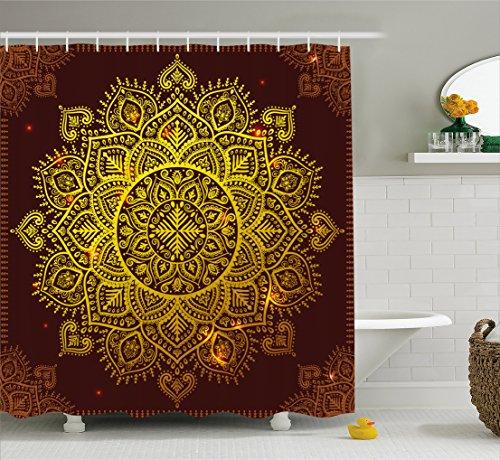 Ambesonne Mandala Shower Curtain, Ornamental Snowflake Floral Ethnic Traditional Arabian Orienta ...