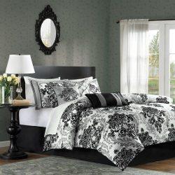 Madison Park Bella King Size Bed Comforter Set Bed In A Bag – Black, Grey, Damask – 7 Piec ...