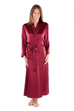 TexereSilk Women's 100% Long Silk Robe – Luxury Bathrobe by (Perla Naturale, Wine, S ...