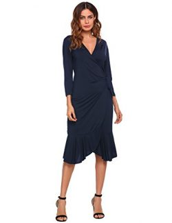 Women's Super Comfy Plum Cross V-Neck Midi Dress Blue Small