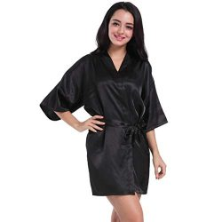 iTLOTL Women's Pure Short Kimono Silk Robe Sleepwear For Bride Wedding Party(Black ,M)