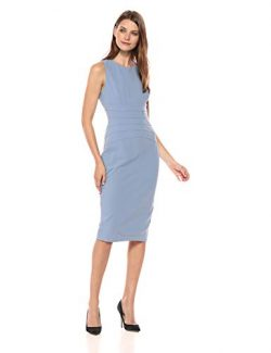 Ivanka Trump Women's Knit Sleeveless Waist Seaming Midi Dress, Cornsilk, 12